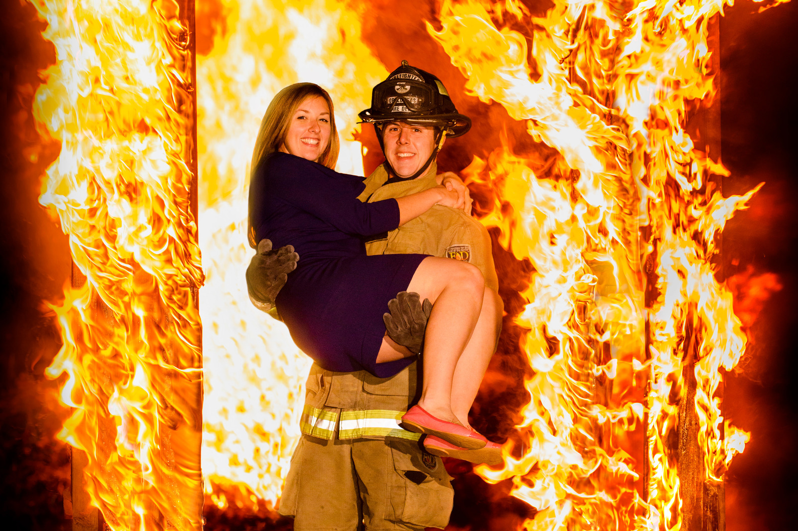 baton rouge engagement photo with fire
