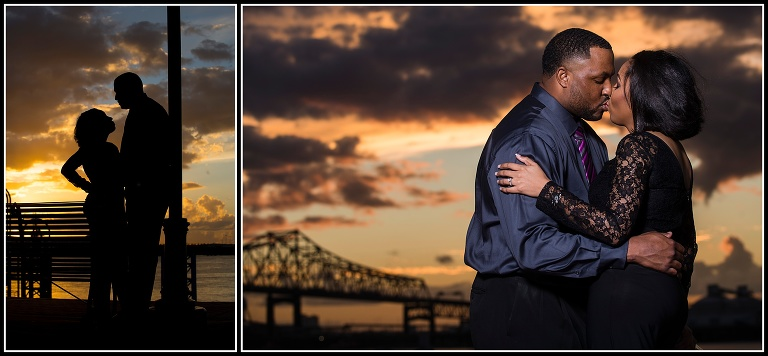 kissing couple during sunset